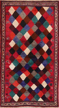 Multi-Color Tribal Gabbeh Shiraz Persian Wool Rug 4x6