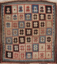 Antique Gabbeh Shiraz Persian Wool Rug 4x4 Square