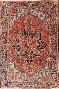 Antique Vegetable Dye Heriz Serapi Persian Wool Rug 8x11
