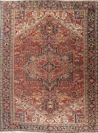 Vintage Red Vegetable Dye Heriz Persian Area Rug 9x13