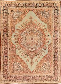 Pre-1900 Vegetable Dye Tabriz Haj Jalili Persian Rug 9x13