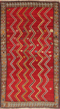 Tribal Geometric Gabbeh Shiraz Persian Wool Rug 4x7