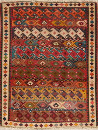 Multi-Color Gabbeh Shiraz Persian Wool Rug 4x5