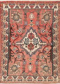Vintage Red Geometric Bakhtiari Persian Wool Rug 5x7