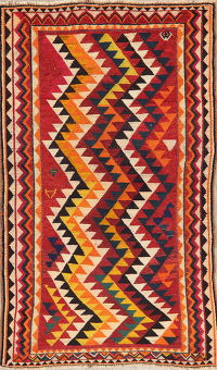 Vintage Multi-Color Gabbeh Shiraz Persian Wool Rug 4x7