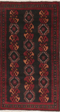 Black Geometric Balouch Persian Wool Rug 3x6