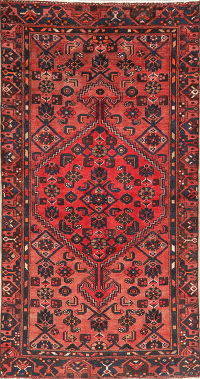 Vintage Red Hamedan Persian Wool Area Rug 4x7