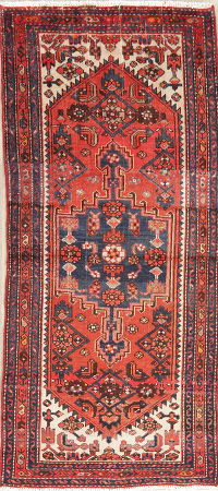 Vintage Red Hamedan Persian Wool Runner Rugs 3x7