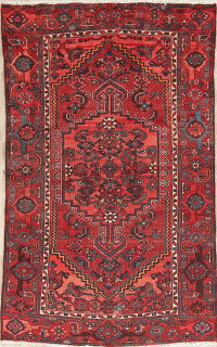 Geometric Tribal Red Hamedan Persian Wool Rug 4x6