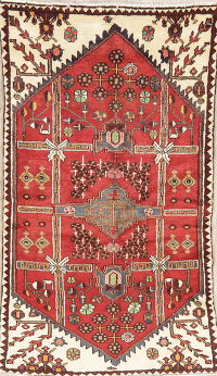 Geometric Red Hamedan Persian Wool Rug 3x6