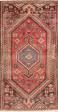 Antique Red Geometric Hamedan Persian Runner Rug 3x6