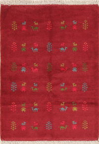 Tribal Red Gabbeh Shiraz Persian Wool Rug 4x5