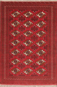 Geometric Red Balouch Persian Wool Rug 3x5