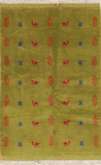 Green Tribal Gabbeh Shiraz Persian Wool Rug 4x5