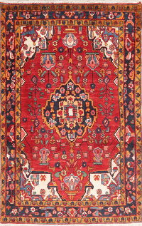 Geometric Red Lilian Persian Wool Rug 4x7