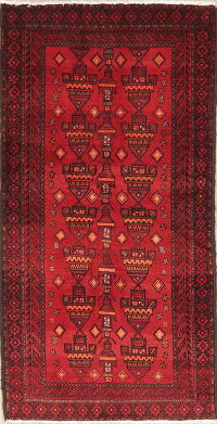 Geometric Red Balouch Oriental Wool Prayer Rug 3x6