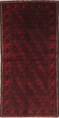 Geometric Red Balouch Oriental Wool Runner Rug 3x6