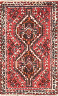 Geometric Red Shiraz Persian Wool Rug 3x4