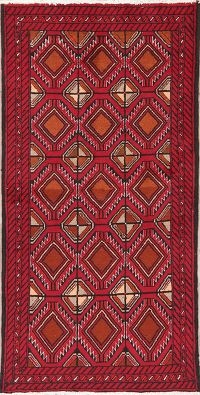 Geometric Red Balouch Persian Wool Runner Rug 3x6