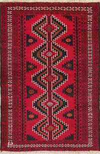 Geometric Red Balouch Oriental Wool Area Rug 4x6