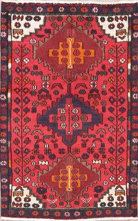Geometric Coral Red Hamedan Persian Runner Rug 3x6