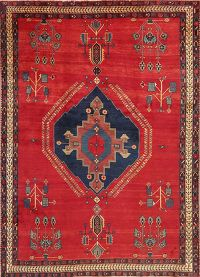 Geometric Red Sirjan Persian Wool Area Rug 6x8