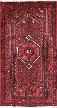Vintage Geometric Red Hamedan Persian Wool Rug 4x7