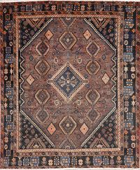 Antique Brown Geometric Balouch Persian Area Rug 6x8