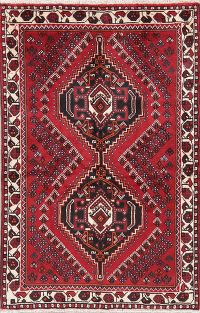 Geometric Red Shiraz Persian Wool Rug 4x5