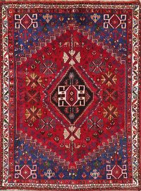 Geometric Red Abadeh Nafar Persian Wool Rug 4x5