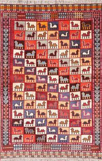 Tribal Geometric Gabbeh Shiraz Persian Wool Rug 4x6