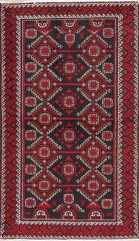 Black Geometric Balouch Persian Wool Rug 4x6