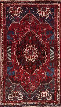 Vintage Red Tribal Shiraz Persian Wool Rug 4x6