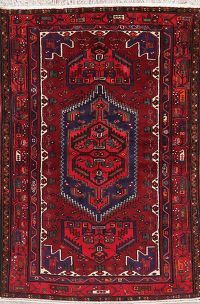 Geometric Red Hamedan Persian Wool Rug 4x7