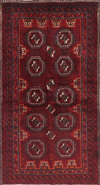 Geometric Red Balouch Persian Runner Rug 3x6
