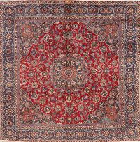 Vintage Floral Red Mashad Persian Wool Rug 9x9 Square