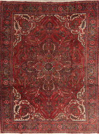 Vintage Floral Red Heriz Persian Wool Area Rug 10x13