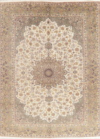 Vintage Floral Ivory Najafabad Persian Wool Area Rug 10x13