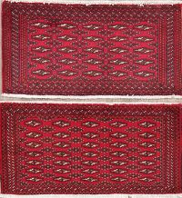 Set of 2 Red Geometric Bokhara Oriental Wool Rugs 2x3
