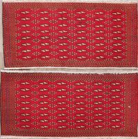 Set of 2 Red Geometric Bokhara Oriental Wool Rugs 2x4