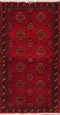 Geometric Red Zanjan Persian Wool Rug 2x4