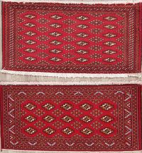Set of 2 Geometric Red Bokhara Oriental Wool Rugs 2x4