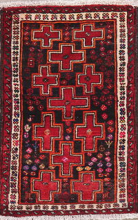 Black Geometric Zanjan Persian Wool Rug 2x3