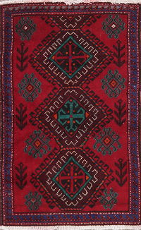 Geometric Red Zanjan Persian Wool Rug 2x3
