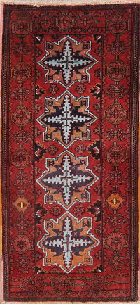 Geometric Red Ardebil Persian Wool Rug 2x4