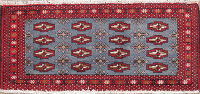 Light Blue Geometric Bokhara Oriental Wool Rug 3x4