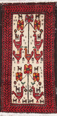 Tribal Ivory Balouch Oriental Wool Rug 2x3