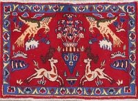 Animal Pictorial Red Sarouk Persian Wool Rug 2x3