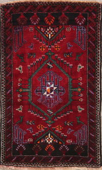 Vintage Tribal Red Shiraz Persian Wool Rug 2x3