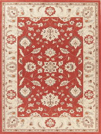 Floral Red Oushak Turkish Oriental Rug 8x11
